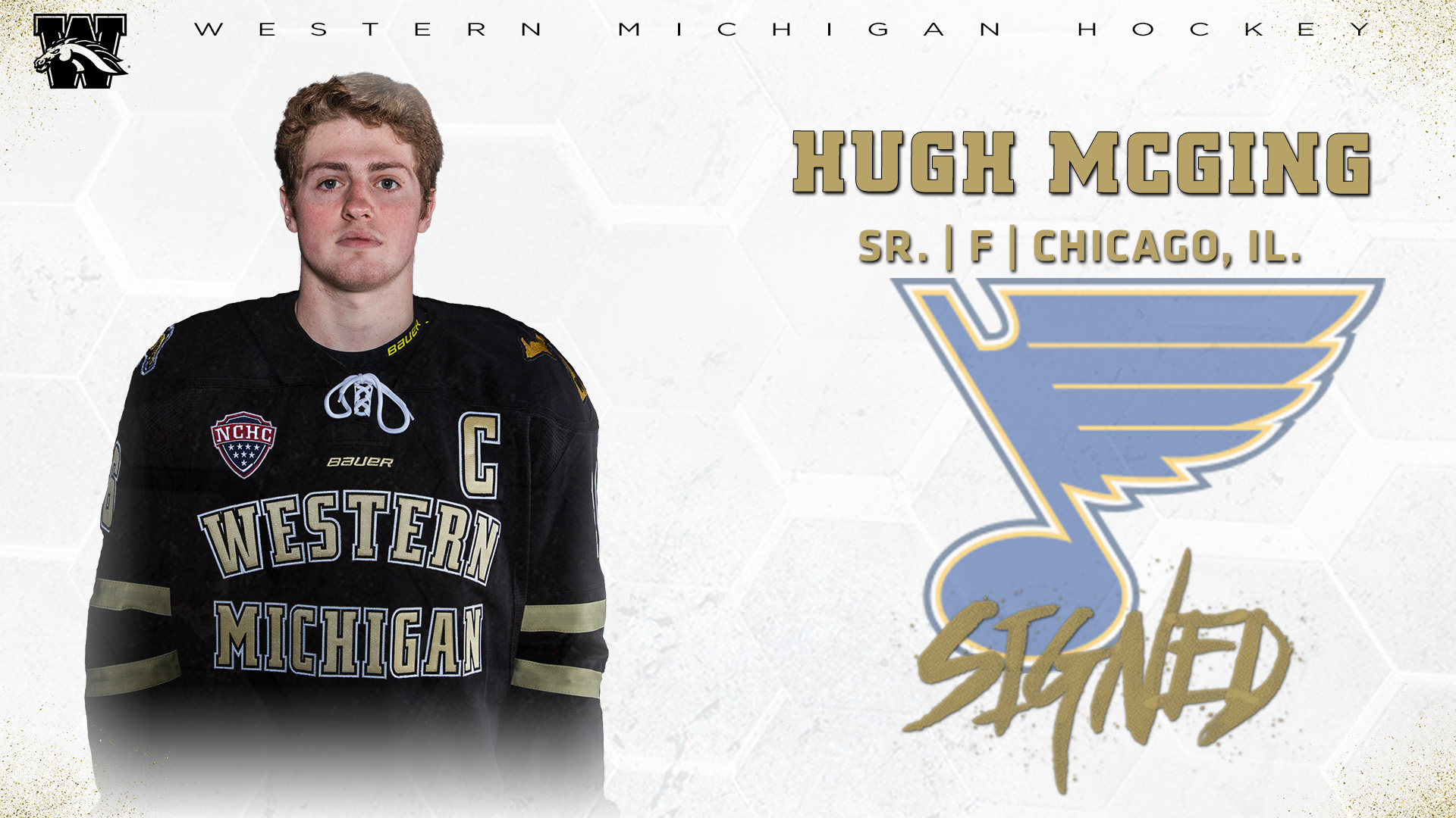 Hugh Mcging Signs With The St Louis Blues Western Michigan